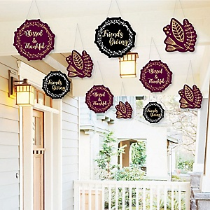 Hanging Elegant Thankful for Friends - Outdoor Friendsgiving Thanksgiving Party Hanging Porch & Tree Yard Decorations - 10 Pieces