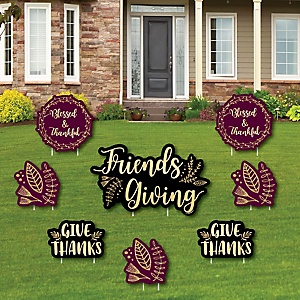 Elegant Thankful for Friends - Yard Sign & Outdoor Lawn Decorations - Friendsgiving Thanksgiving Party Yard Signs - Set of 8