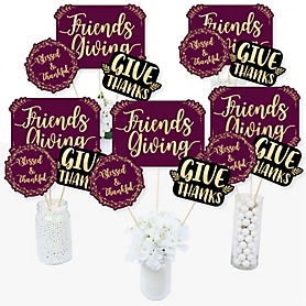 Elegant Thankful for Friends - Friendsgiving Thanksgiving Party Centerpiece Sticks - Table Toppers - Set of 15