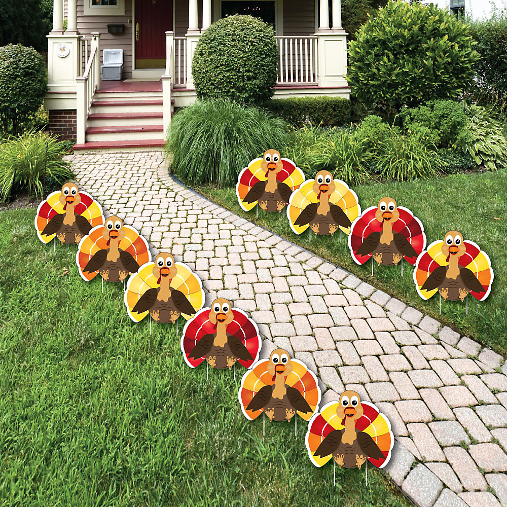 Thanksgiving Turkey Lawn Decorations Outdoor Fall Harvest Yard 10 Piece