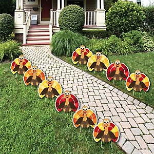 Thanksgiving Turkey - Turkey Lawn Decorations - Outdoor Fall Harvest Yard Decorations - 10 Piece