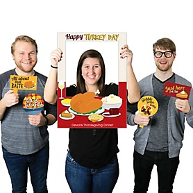 Thanksgiving Turkey - Personalized Thanksgiving Selfie Photo Booth Picture Frame & Props - Printed on Sturdy Material