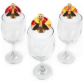 Thanksgiving Turkey - Shaped Fall Harvest & Thanksgiving Wine Glass Markers - Set of 24