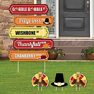 Thanksgiving Turkey Street Sign Cutouts - Fall Harvest Yard Signs & Decorations - Set of 8