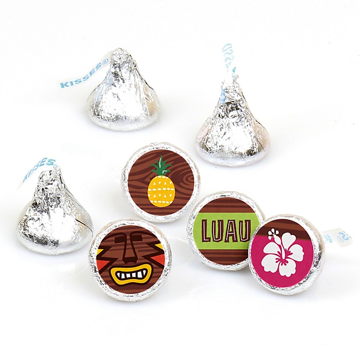Tiki Luau - Round Candy Labels Tropical Hawaiian Summer Party Favors - Fits Hershey's Kisses - 108 ct