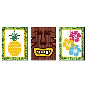 Tiki Luau - Nursery Wall Art, Kids Room Decor & Tropical Hawaiian Home Decorations - 7.5 x 10 inches - Set of 3 Prints