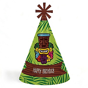 Tiki Luau - Personalized Cone Tropical Hawaiian Summer Birthday Party Hats - Set of 8 (Standard Size)