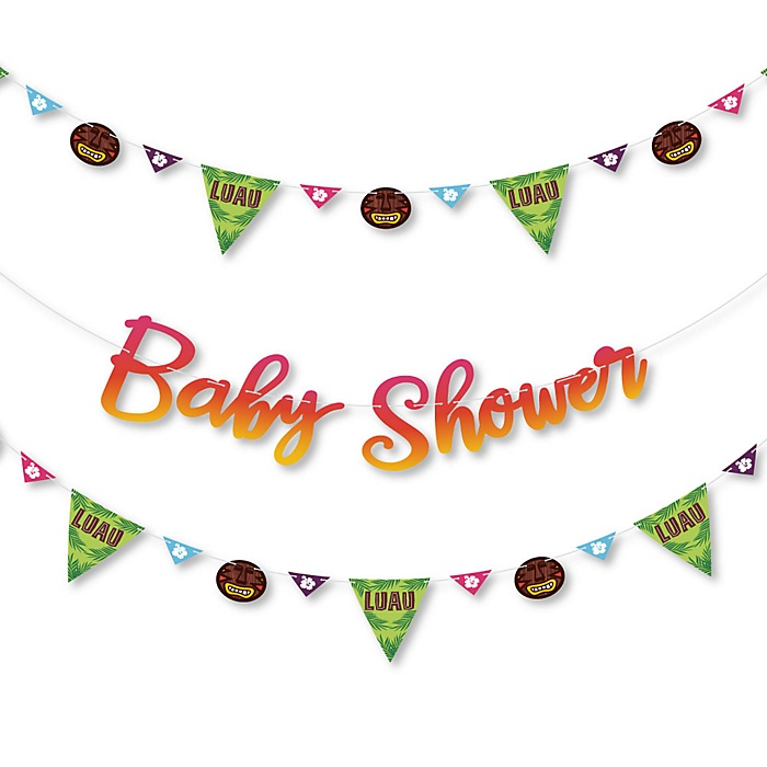 Tiki Luau - Tropical Hawaiian Summer Baby Shower Letter Banner Decoration - 36 Banner Cutouts and Baby Shower Banner Letters
