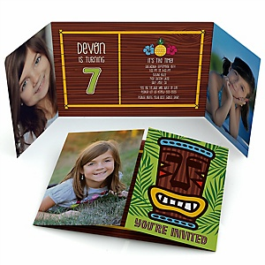 Tiki Luau - Personalized Tropical Hawaiian Summer Birthday Party Photo Invitations - Set of 12