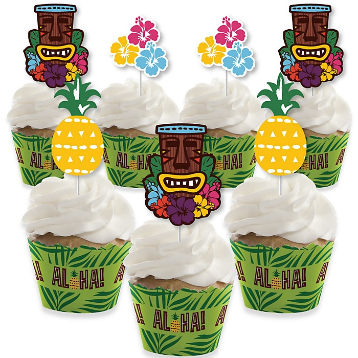 Tiki Luau - Cupcake Decoration - Tropical Hawaiian Summer Party Cupcake Wrappers and Treat Picks Kit - Set of 24