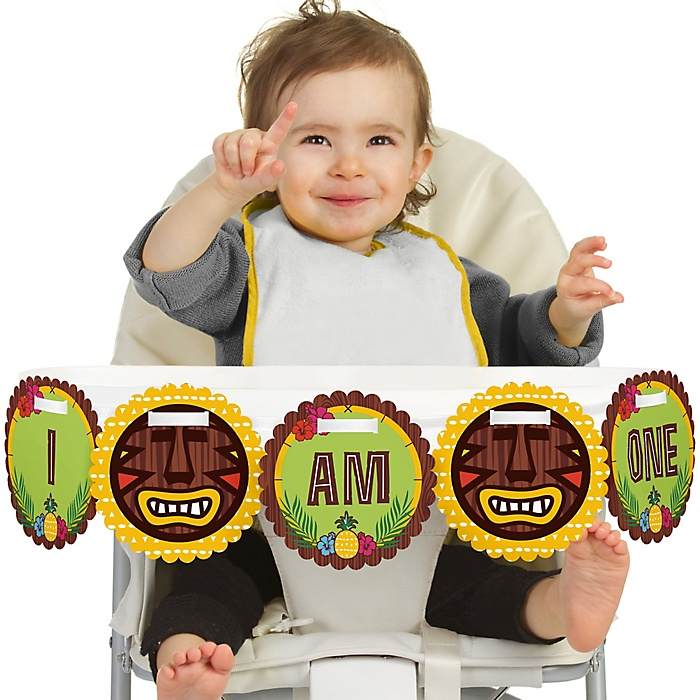 Tiki Luau 1st Birthday - I am One - First Tropical Hawaiian Summer Birthday High Chair Birthday Banner