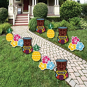 Tiki Luau - Tiki and Flower Lawn Decorations - Outdoor Tropical Hawaiian Summer Party Yard Decorations - 10 Piece