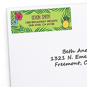 Tiki Luau - Personalized Tropical Hawaiian Summer Party Return Address Labels - 30 ct
