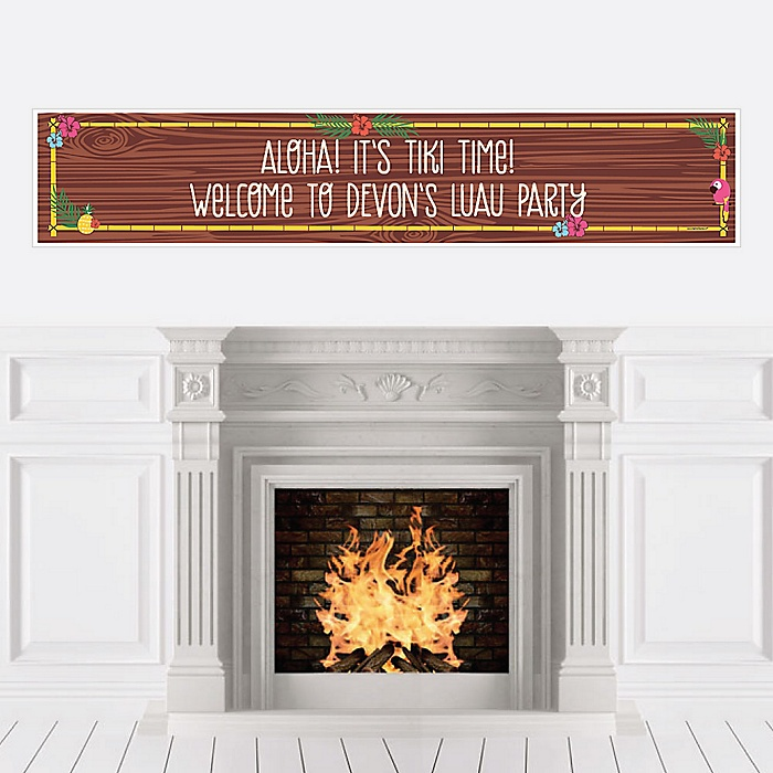 Tiki Luau - Personalized Tropical Hawaiian Summer Party Banner