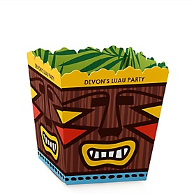 Tiki Luau - Party Mini Favor Boxes - Personalized Tropical Hawaiian Summer Party Treat Candy Boxes - Set of 12
