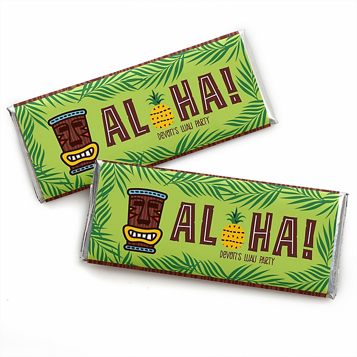 Tiki Luau - Personalized Candy Bar Wrapper Tropical Hawaiian Summer Party Favors - Set of 24