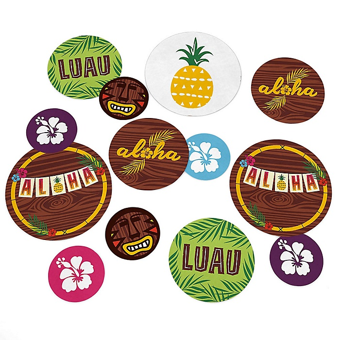 Tiki Luau - Tropical Hawaiian Summer Party Giant Circle Confetti - Luau Party Decorations - Large Confetti 27 Count