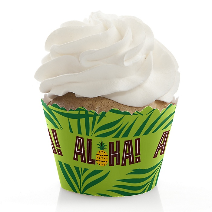 Tiki Luau - Tropical Hawaiian Summer Party Decorations - Party Cupcake Wrappers - Set of 12