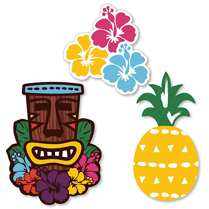 Tiki Luau - DIY Shaped Tropical Hawaiian Summer Party Cut-Outs - 24 ct