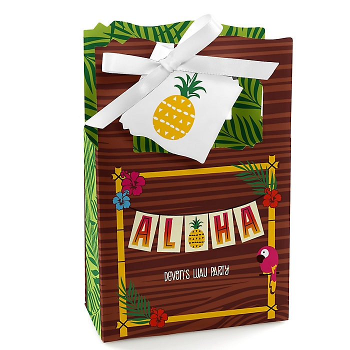 Tiki Luau - Personalized Tropical Hawaiian Summer Party Favor Boxes - Set of 12