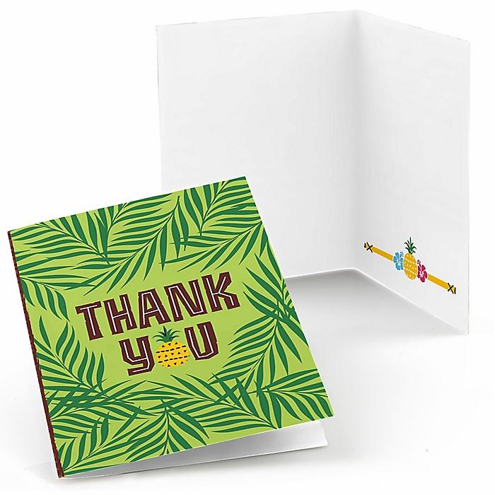 Tiki Luau - Tropical Hawaiian Summer Party Thank You Cards - 8 ct