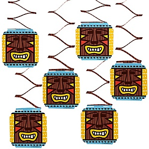 Tiki Luau - Tropical Hawaiian Summer Party Hanging Decorations - 6 ct