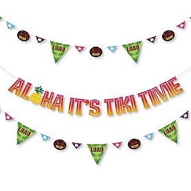 Tiki Luau - Tropical Hawaiian Summer Party Letter Banner Decoration - 36 Banner Cutouts and Aloha It's Tiki Time Banner Letters