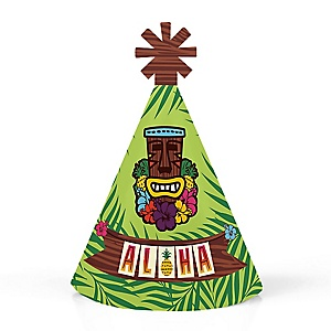 Tiki Luau - Personalized Mini Cone Tropical Hawaiian Summer Party Hats - Small Little Party Hats - Set of 10