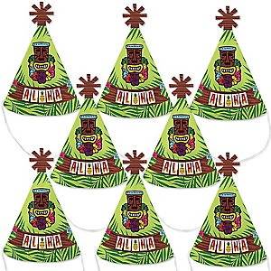 Tiki Luau - Mini Cone Tropical Hawaiian Summer Party Hats - Small Little Party Hats - Set of 8
