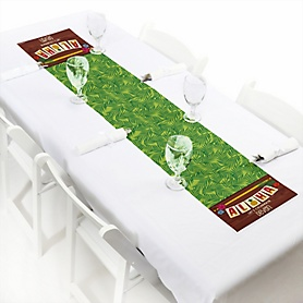 "Tiki Luau - Personalized Petite Tropical Hawaiian Summer Party Table Runner - 12"" x 60"""
