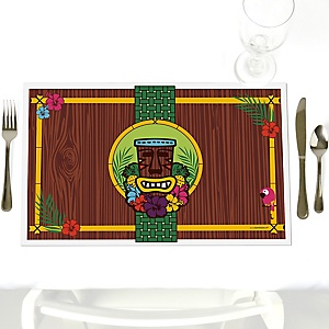 Tiki Luau - Party Table Decorations - Tropical Hawaiian Summer Party Placemats - Set of 12