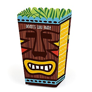Tiki Luau - Personalized Tropical Hawaiian Summer Party Popcorn Favor Treat Boxes - Set of 12