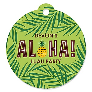 Tiki Luau - Personalized Tropical Hawaiian Summer Party Gift Tags - 20 ct