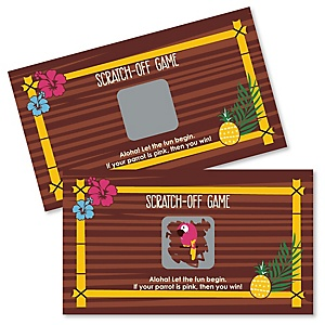 Tiki Luau - Personalized Tropical Hawaiian Summer Party Scratch Off Cards - 22 Cards