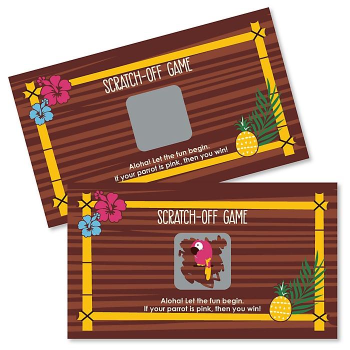 Tiki Luau - Tropical Hawaiian Summer Party Scratch Off Cards - 22 Cards