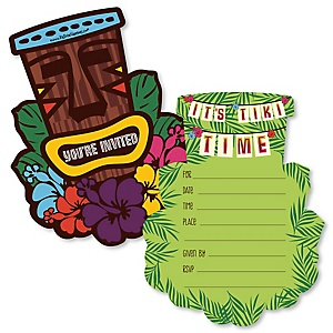Tiki Luau - Shaped Fill-In Tropical Hawaiian Summer Party Invitation Cards with Envelopes - Set of 12
