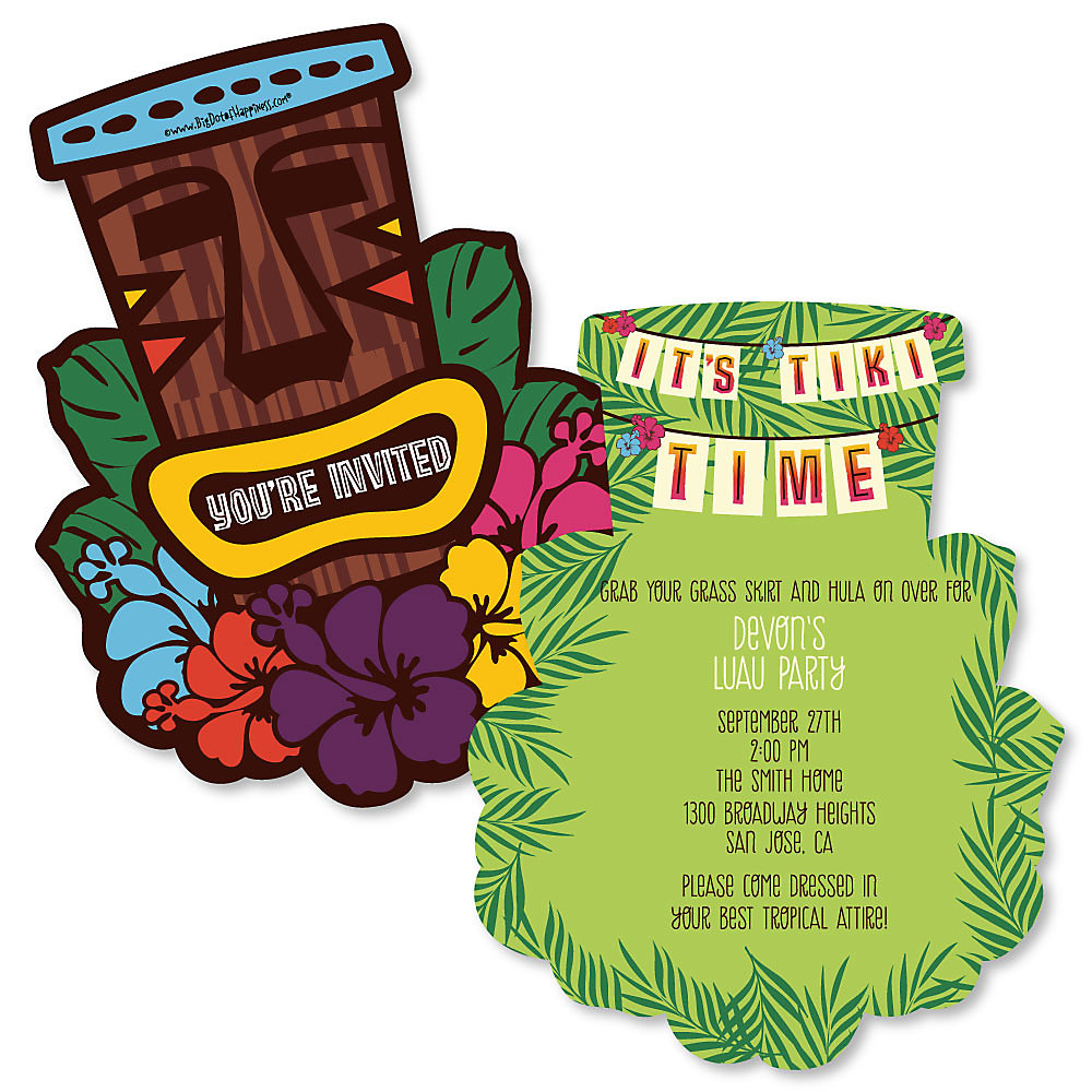 Tiki Luau - Shaped Tropical Hawaiian Summer Party Invitations ...