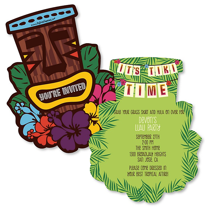 Tiki Luau - Shaped Tropical Hawaiian Summer Party Invitations - Set of 12