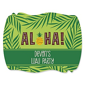 Tiki Luau - Personalized Tropical Hawaiian Summer Party Squiggle Sticker Labels - 16 ct