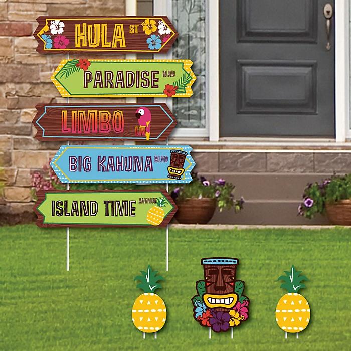 Tiki Luau Street Sign Cutouts - Tropical Hawaiian Summer Party Yard Signs & Decorations - Set of 8