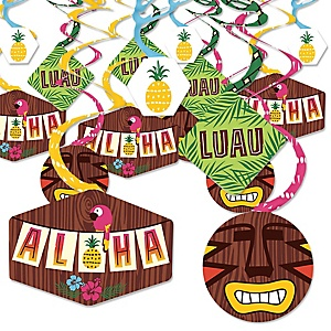 Tiki Luau - Tropical Hawaiian Summer Party Hanging Decor - Party Decoration Swirls - Set of 40
