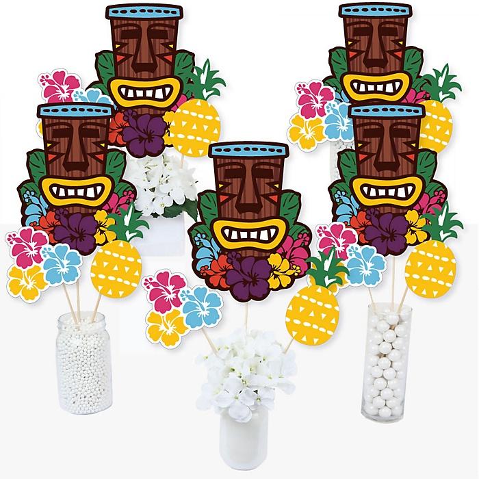 Tiki Luau - Tropical Hawaiian Summer Party Centerpiece Sticks - Table Toppers - Set of 15