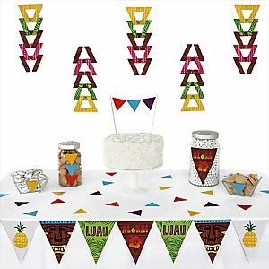 Tiki Luau -  Triangle Tropical Hawaiian Summer Party Decoration Kit - 72 Piece