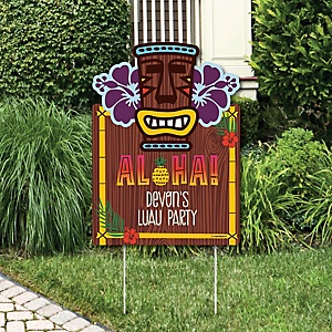Tiki Luau - Party Decorations - Tropical Hawaiian Summer Party Personalized Welcome Yard Sign
