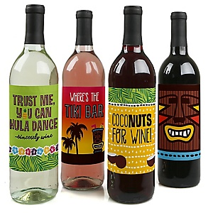 Tiki Luau - Tropical Hawaiian Summer Party Decorations for Women and Men - Wine Bottle Label Stickers - Set of 4