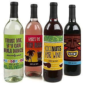 Tiki Luau - Personalized Tropical Hawaiian Summer Party Decorations for Women and Men - Wine Bottle Label Stickers - Set of 4