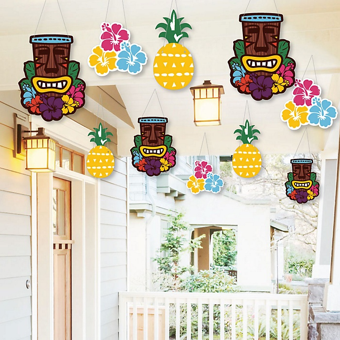 Hanging Tiki Luau - Outdoor Tropical Hawaiian Summer Party Hanging Porch and Tree Yard Decorations - 10 Pieces