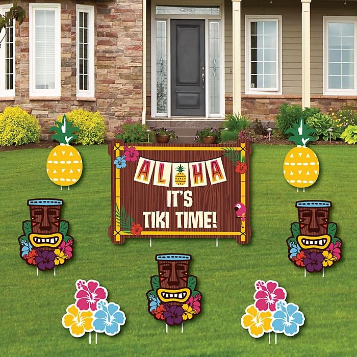 Tiki Luau - Yard Sign and Outdoor Lawn Decorations - Tropical Hawaiian Summer Party Yard Signs - Set of 8