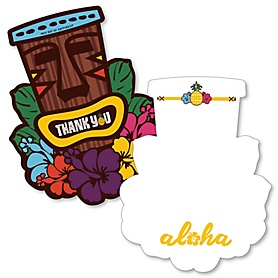 Tiki Luau - Shaped Thank You Cards - Tropical Hawaiian Summer Party Thank You Note Cards with Envelopes - Set of 12