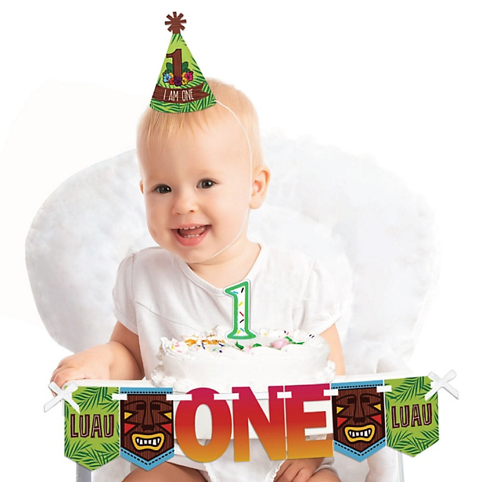 Tiki Luau 1st Birthday - First Birthday Boy or Girl Smash Cake Decorating Kit - High Chair Decorations